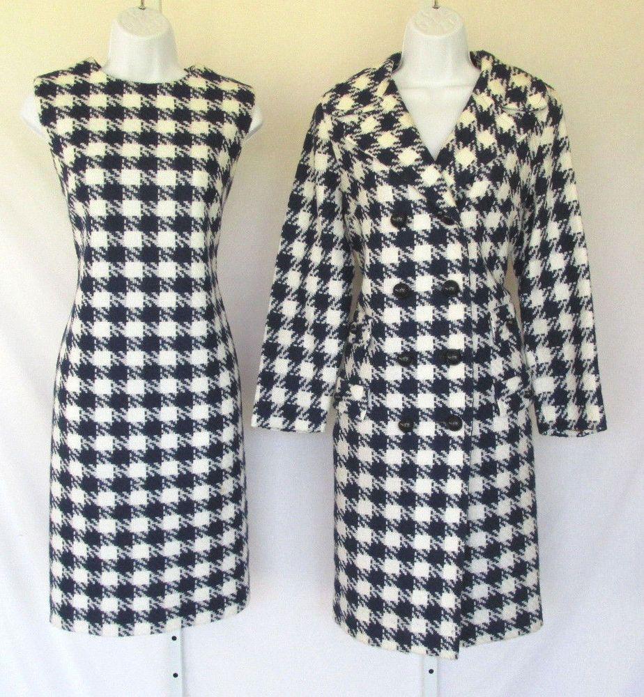 VINTAGE 1960s MOD BEELINE FASHION DRESS COAT SUIT HOUNDSTOOTH SIZE 10 BLUE WHITE #BEELINEFASHIONS