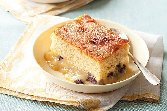 Vanilla pudding and fresh berries turn a boxed yellow cake mix into this scrumptious Blueberry Pudding Cake. Sprinkle with powdered sugar and serve warm.