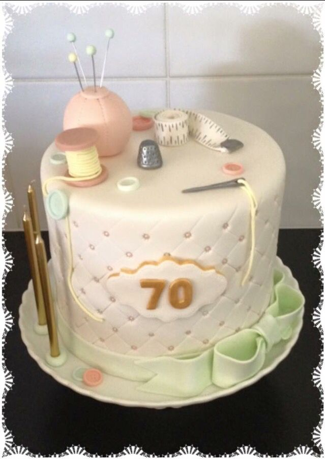 Fondant Sewing Quilted Bow 70th Birthday Cake Mom