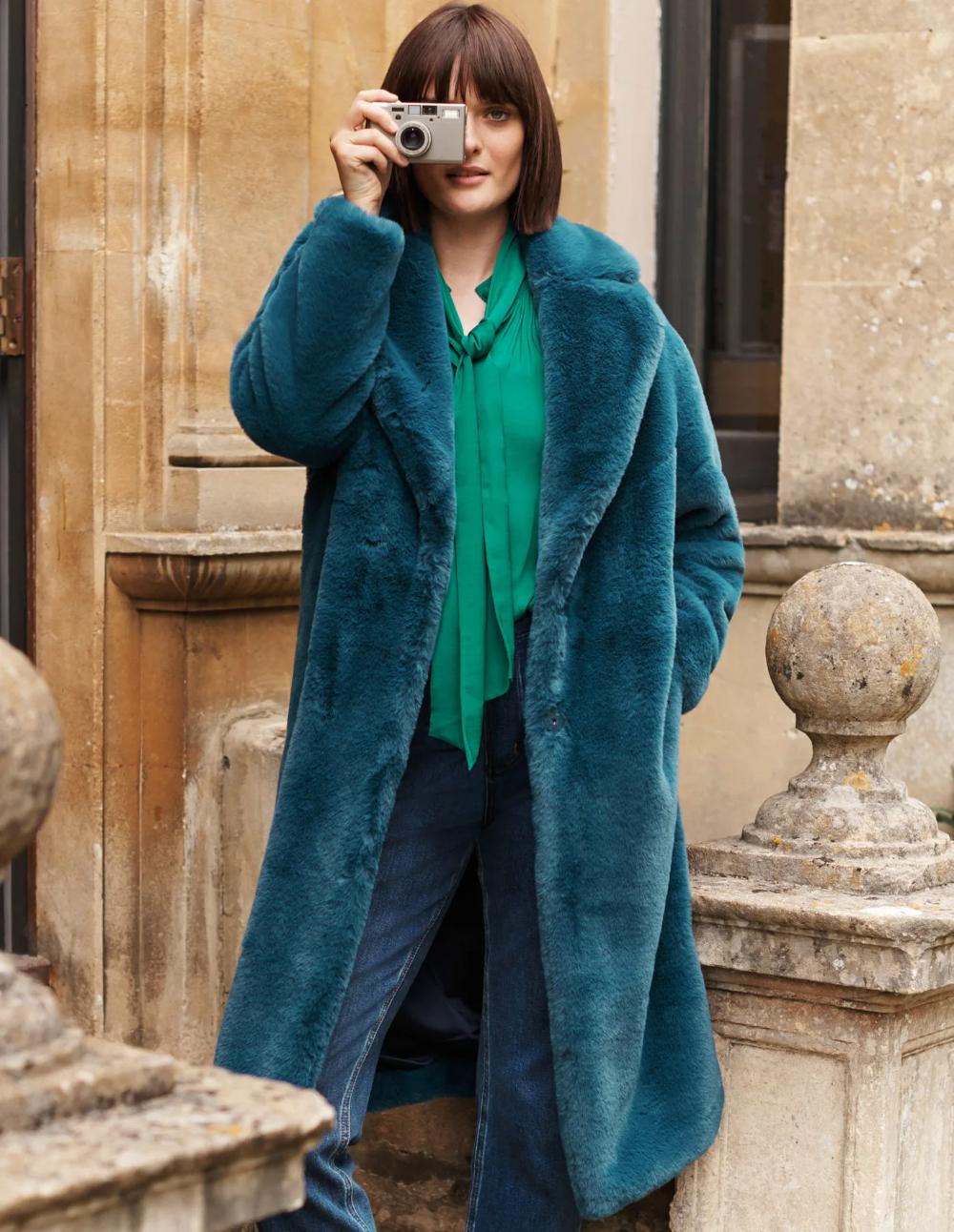 Kenilworth Faux Fur Coat Rich Teal Fur Coat Oversized Faux Fur Coat Blue Fur Coat [ 1292 x 1000 Pixel ]