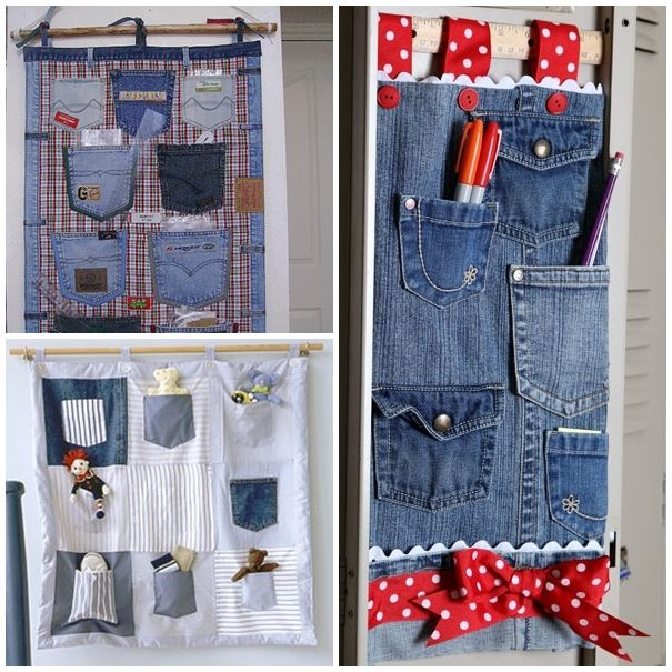 The Perfect Diy Hanging Jeans Pocket Organizer Recycled