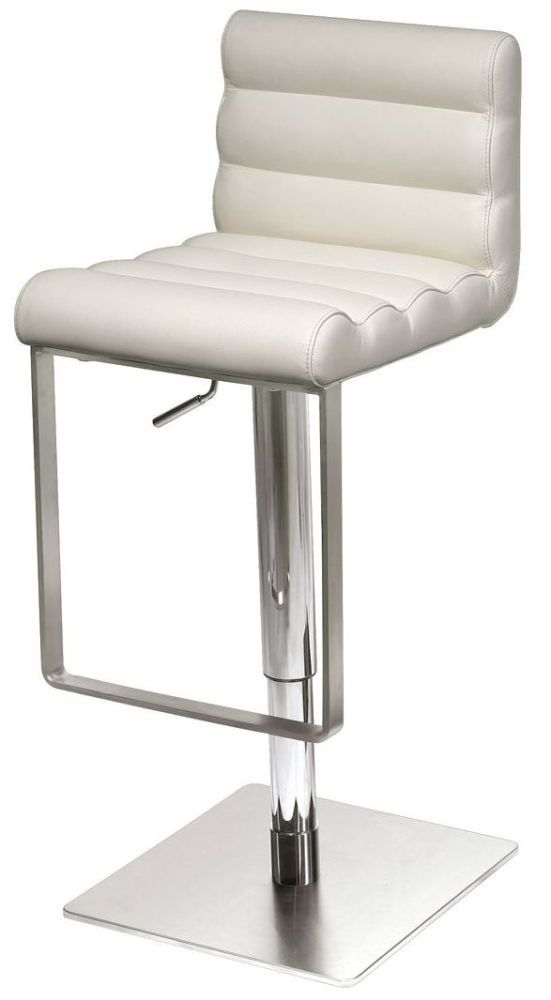 Groovy Riva White Leather Bar Stool With Stainless Steel Base Creativecarmelina Interior Chair Design Creativecarmelinacom