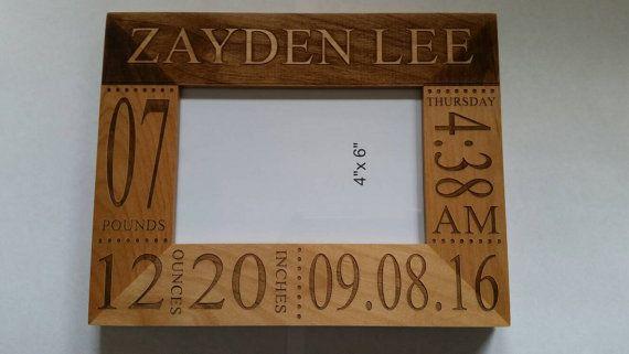 """Personalized Laser Engraved 8/""""x10/"""" Alder Wood Photo Frame"""