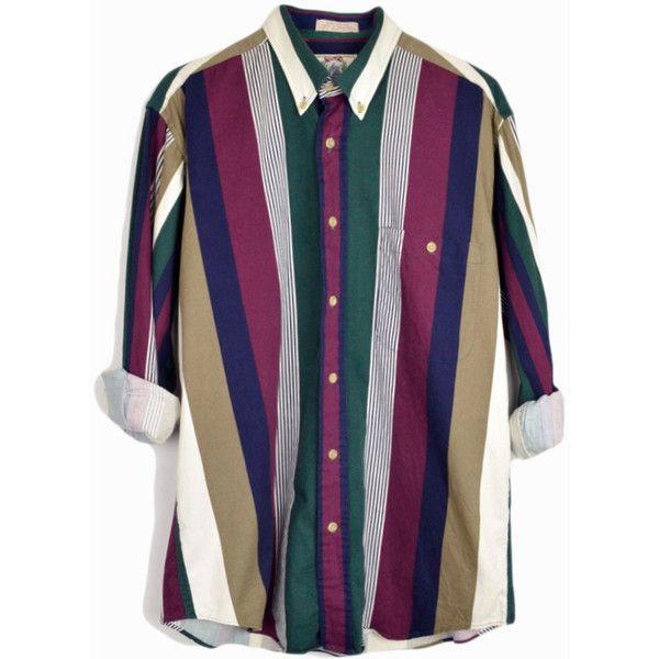 Vintage 90s Striped Button Down Shirt 90s Men S Shirt In Burgundy Pine Navy Men S Medium Mens Vintage Shirts Burgundy Dress Shirts Mens Shirts