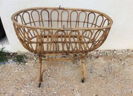 Reserved rattan vintage child baby craddle vintage bassinet