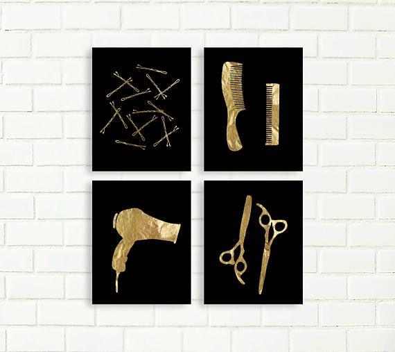 Bobby Pin Print, Printables, Instant Download, Gold Black, Bathroom Art, Vanity Wall Decor, Glam Bathroom, Hair Salon, Scissors, Comb