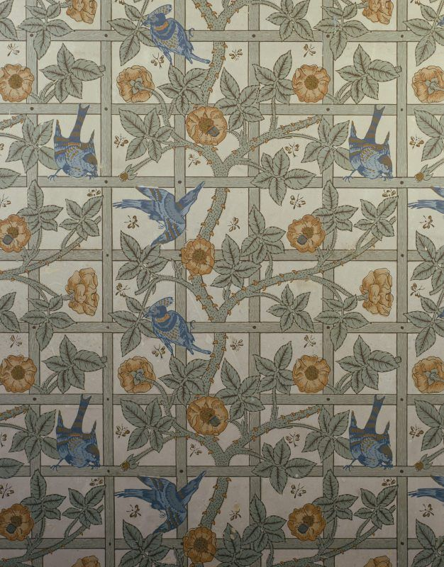 Detail Of The Trellis Wallpaper Design Conceived By William Morris And Incorporating Birds Drawn Philip Webb CNational Trust Images Jonathan Gibson