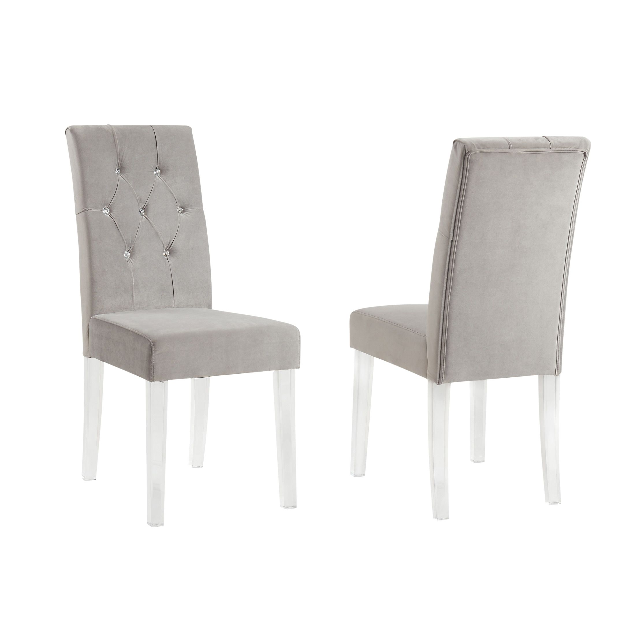 Cavalli crystal studded velvet dining chairs with acrylic for Studded dining room chairs