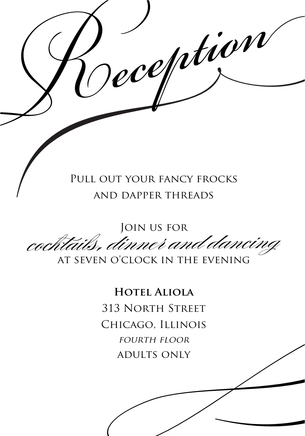 RECEPTION Amazing Stylish Black And White Wedding Reception Invitation Inspiration With Simple Words