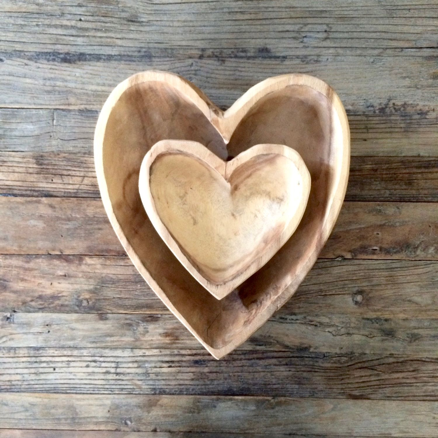 Hand Carved Wooden Heart Bowls Wooden Hearts Heart Shaped Bowls Hand Carved