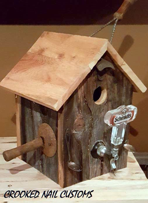 Barn Wood Birdhouse with Beer Tap Pirch designed by Crooked Nail Customs.