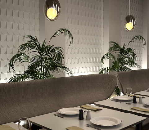 White ceramic 3D tiles used in a restaurant setting  Available to order from TileStyle:  http://tilestyle.ie/EasyBlog/latest-news/wow-3d-ceramic-tiles.html