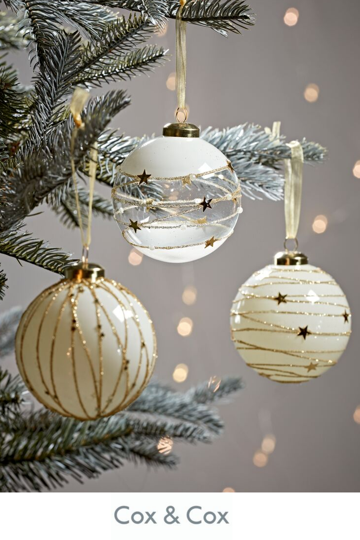 Twelve Glittered Swirl Glass Baubles Christmas Tree Decorations Gold Christmas Glass Bauble