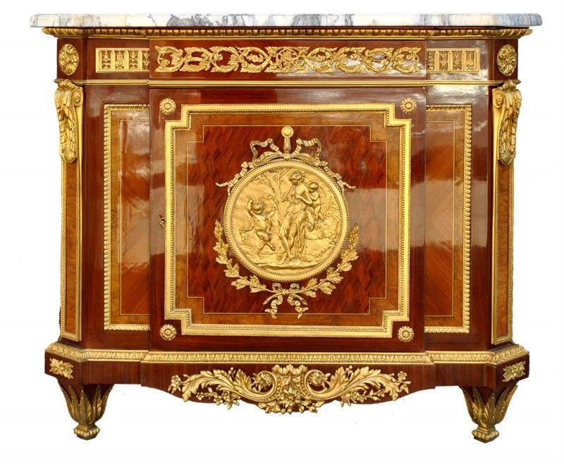 bahut style louis xvi marqueterie bronze dor d 39 apr s riesner art antiquit wood. Black Bedroom Furniture Sets. Home Design Ideas