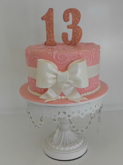Sparkly Pink Birthday Cake 1486 13 Birthday Cake Simple