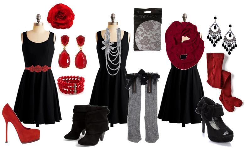 Accessories to black dress looks – Womans wallet and dresses