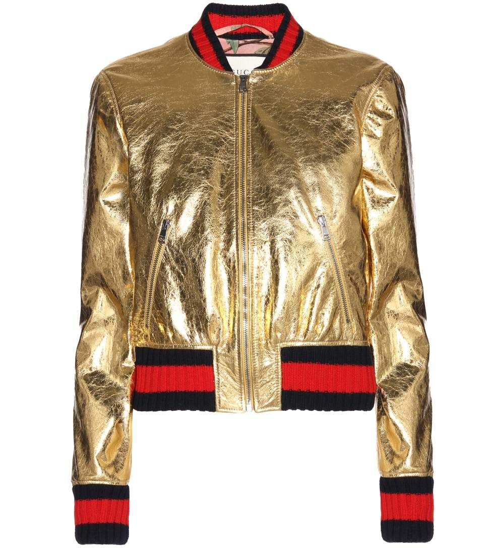 Gucci Veste Bomber En Cuir Metallise Dore What I Like This Week