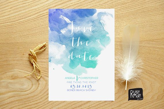 Aqua Save the Date card, Watercolour Save the Date - digital or printed - beach wedding save the date, ombre, turquoise, nautical, summer