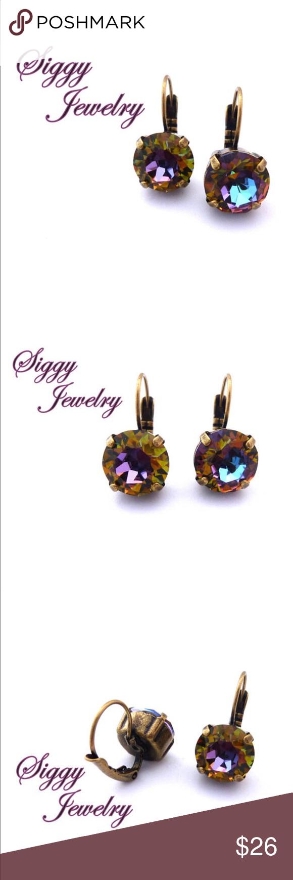 Swarovski Crystal Volcano Earrings in 11mm   Crystal