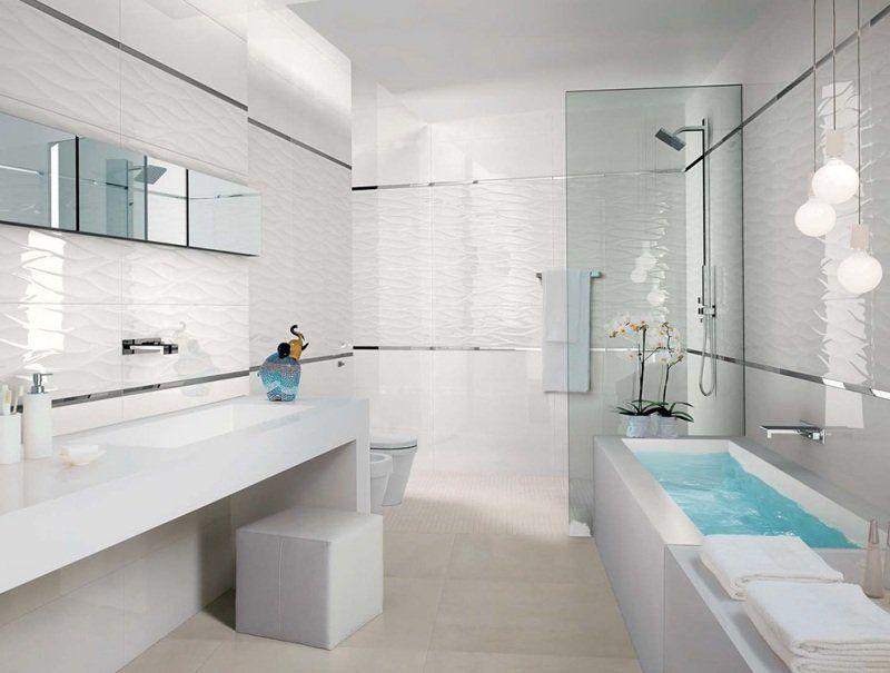 faïence salle de bains ? 88 des plus beaux carrelages design ... - Salle De Bains Blanche