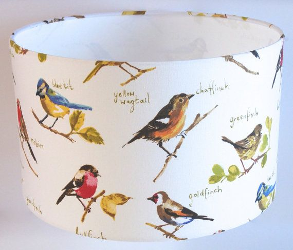 Garden bird print fabric lampshade 30cm or 40cm by lazysusanmakes garden bird print fabric lampshade ukeuus pendant ceiling or table lamp fitting mozeypictures Choice Image