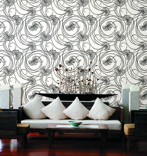 Whimsical floral backdrop for a modern living space http://lelandswallpaper.com.  Width: 27 in  Repeat: 25.25 in  Length: 13.5 ft (SINGLE ROLL)  pre-pasted, washable, strippable  Whimiscal script floral in black and white makes a great contemporary statement for any room. $36.95 per single roll