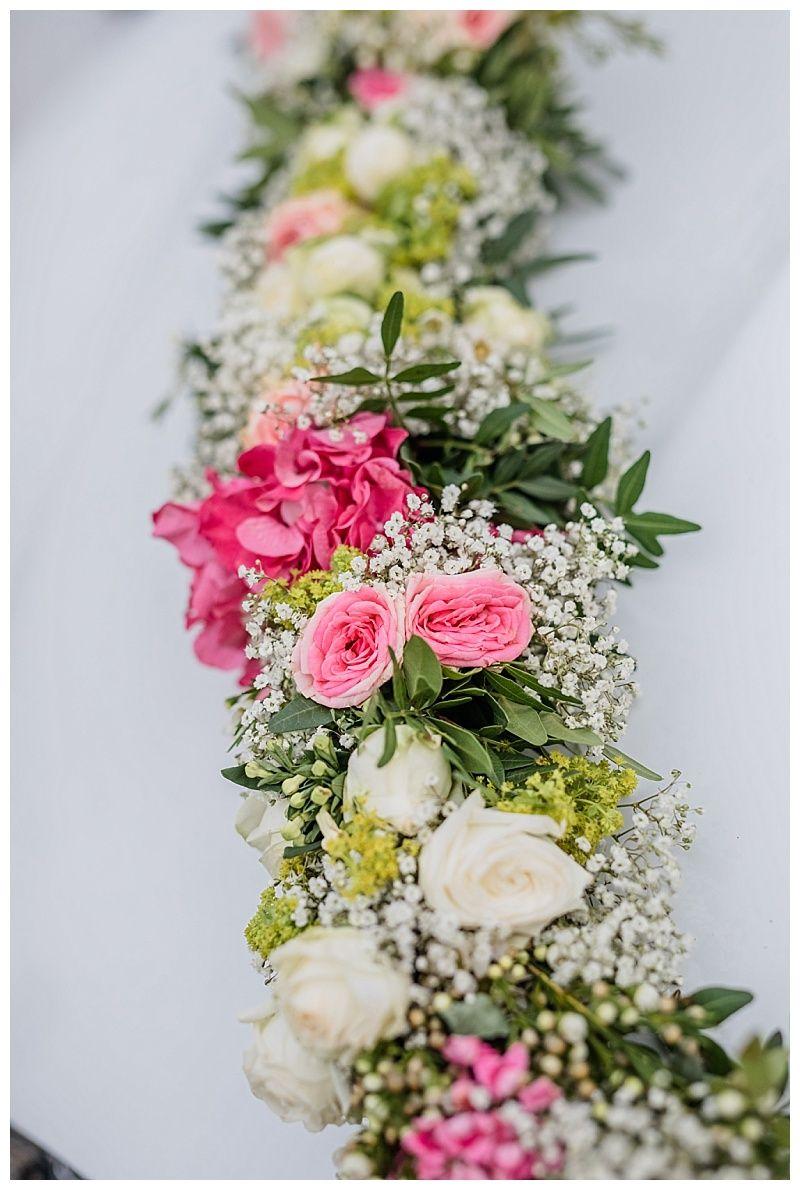 Hochzeit Blumengirlande Brautauto Pink Hochzeit Blumen Girlande Blumen
