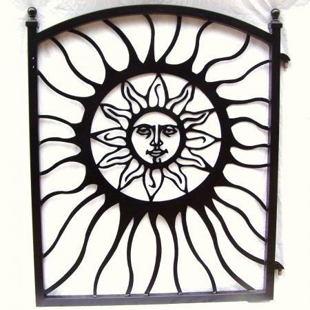 Aztec Sun Garden Gate New Custom Black Metal Art Wrought