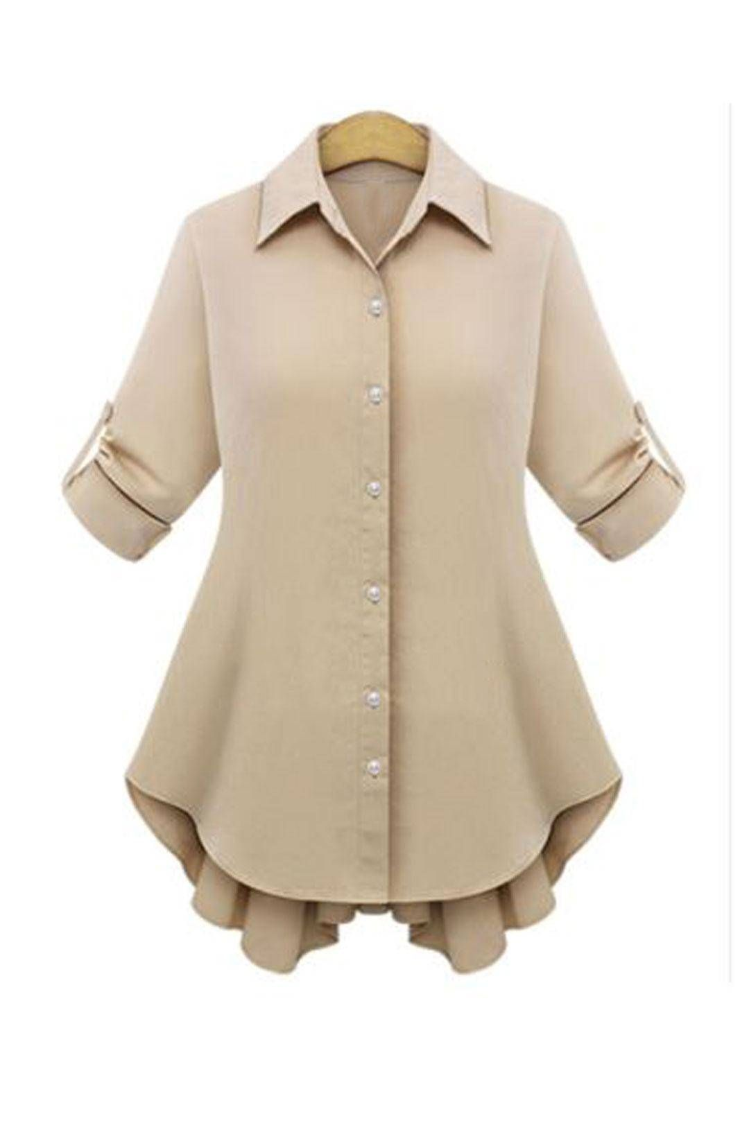 8fbc11b3d5f Plus Size Bowknot Tie Khaki Shirt - US 21.95