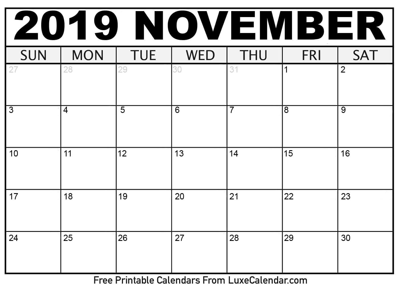 2019 November Calendar Calendar Printables Free Printable