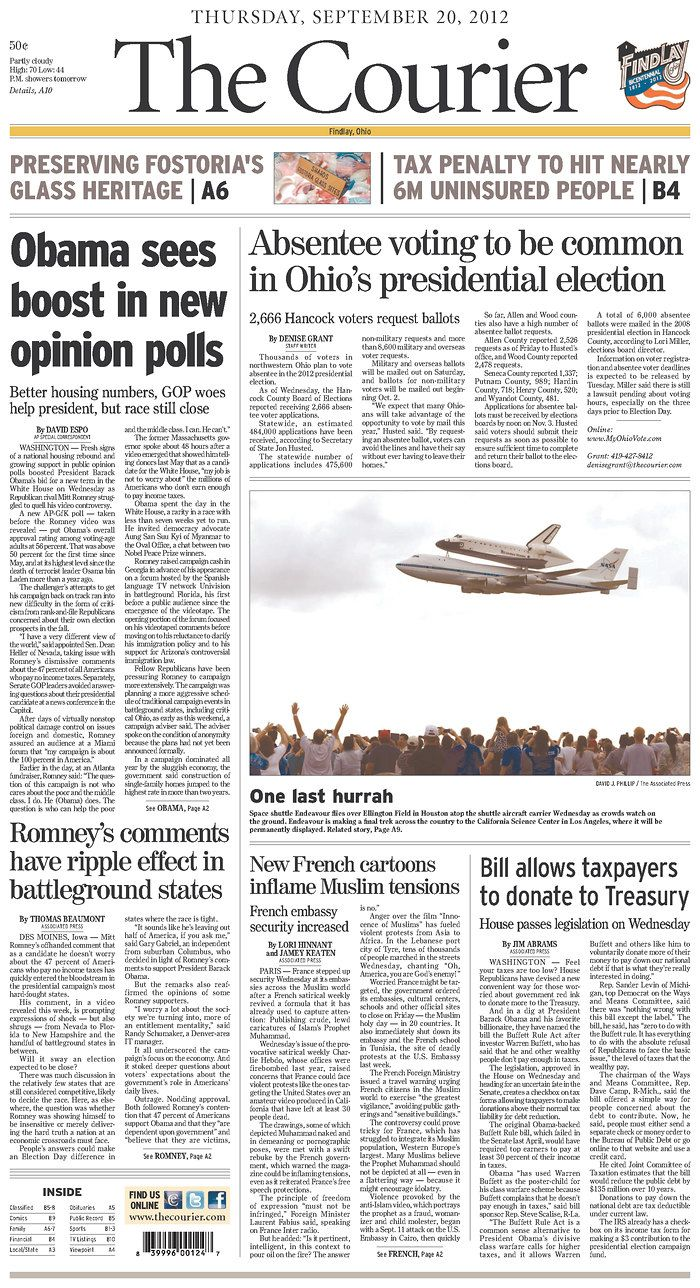 September 20, 2012 The Courier, published in Findlay, Ohio