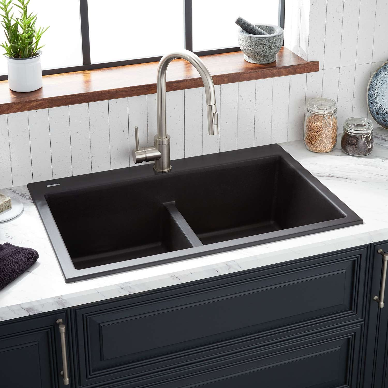 33 Algren Double Bowl Drop In Granite Composite Sink Black