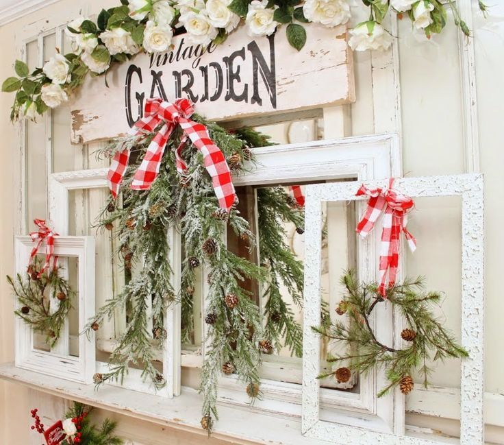 Nordic Farmhouse Christmas Junk Chic Cottage Wall Decor Wreath Ideas