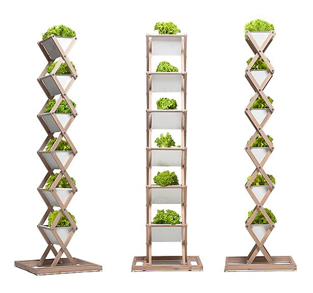 Urbanature 39 s folding garden planter and stand takes urban for Vertical planter boxes