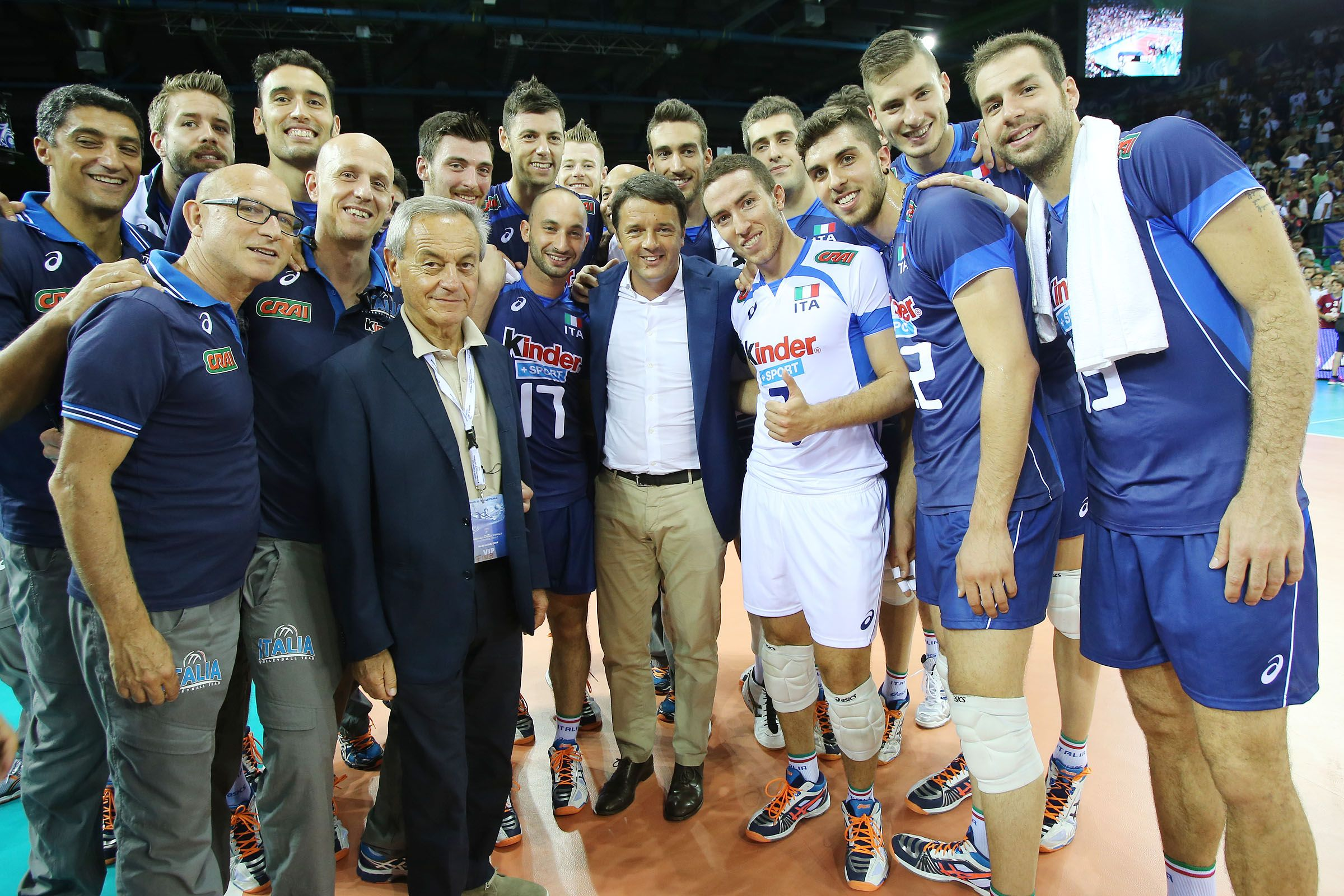The Italy National Team Volleyball Poses With Then Italian Prime Minister Matteo Renzi After The Final Six Match A Italy Team Matteo Renzi Minister