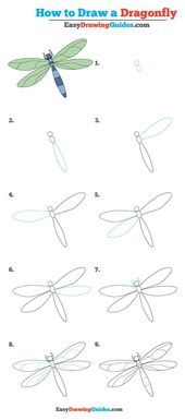 How to Draw a Dragonfly – Really Easy Drawing Tutorial  How to Draw a Dragonfly …