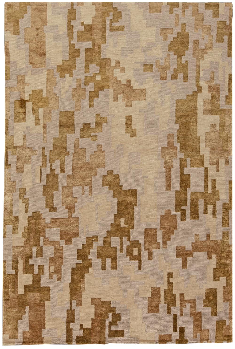 Arthur Dunnam Geometric Design Beige Golden Brown Wool Silk