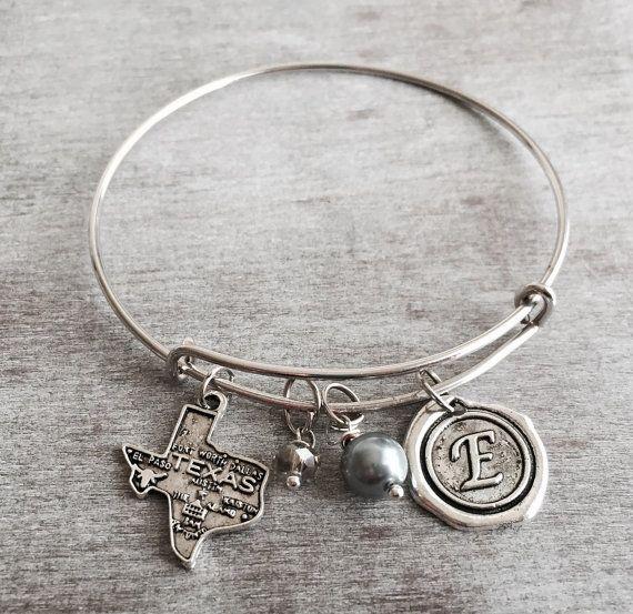 INITIAL BRACELET  Silver Plated Charm Bracelet Texas by SAjolie