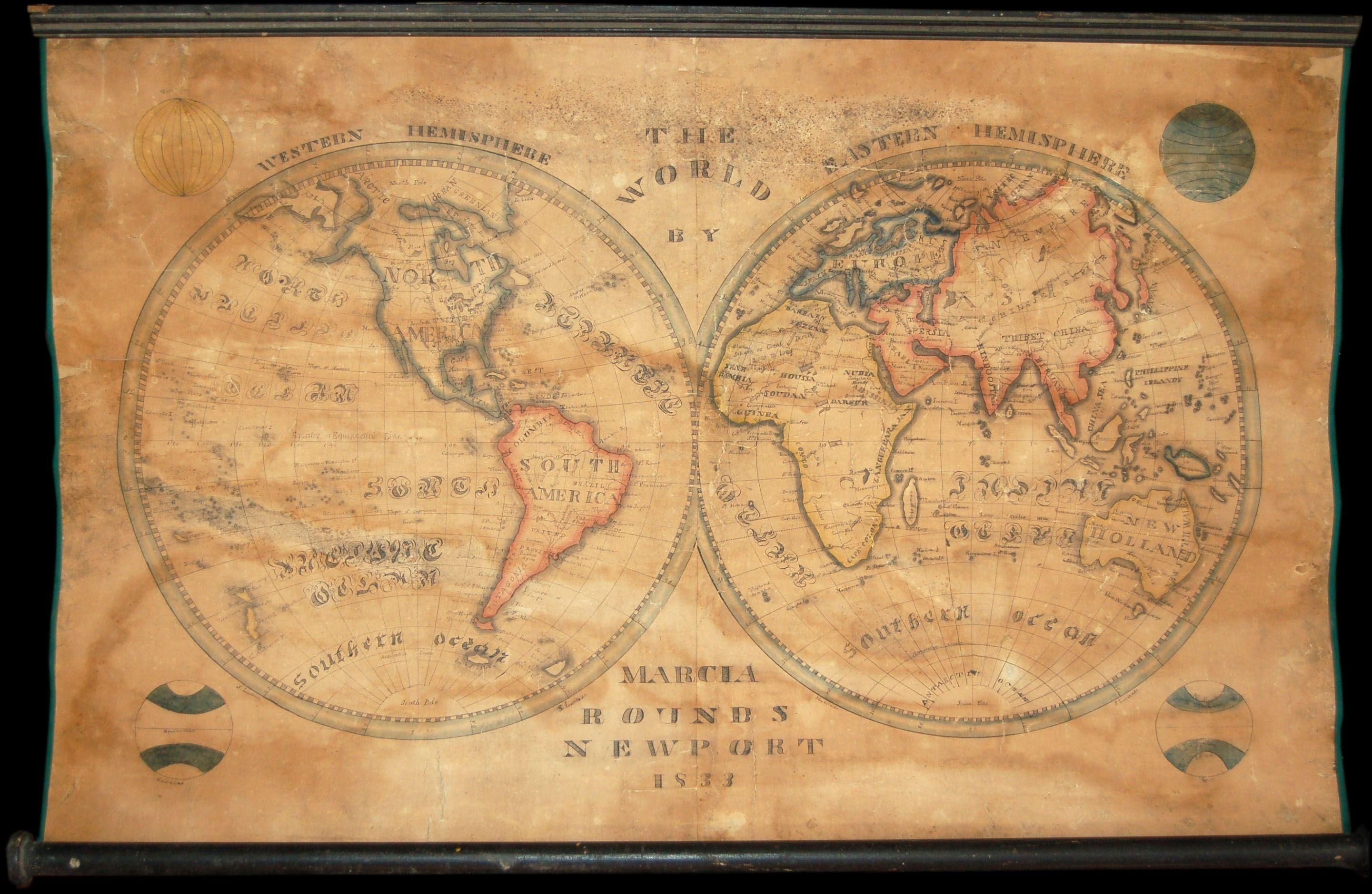 The world marcia rounds newport 1833 this stunning schoolgirl map the world marcia rounds newport 1833 this stunning schoolgirl map was hand drawn gumiabroncs Gallery