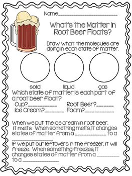 States Of Matter A Root Beer Float Experiment Third Grade Science Matter Science States Of Matter