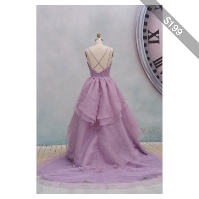 Light Purple Organza Wedding Dress Ball Gown Dress Backless Prom Dress with beading