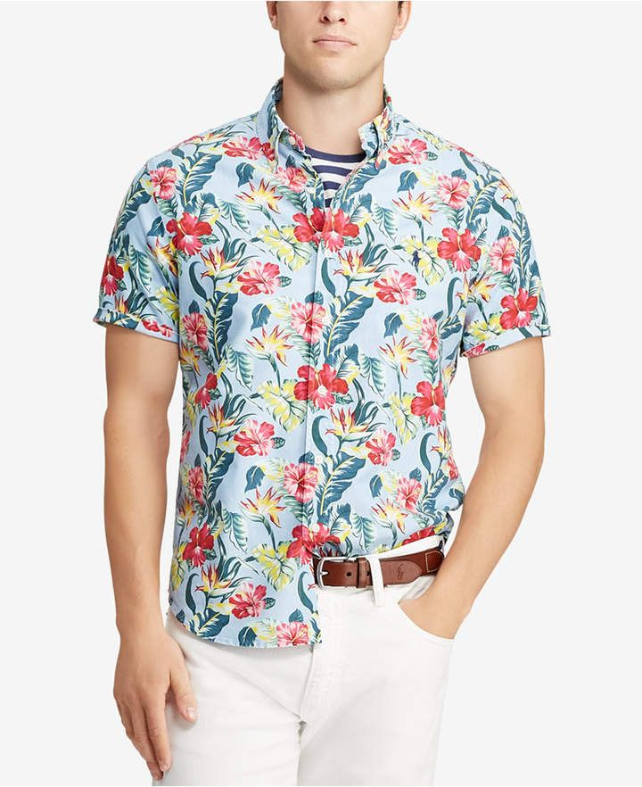8bf274a1 Polo Ralph Lauren Men's Big & Tall Classic Fit Floral-Print Cotton Shirt