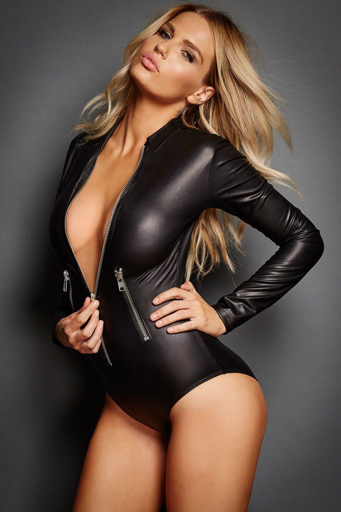 5d1e0d30e9ee Black Leathery Long Sleeve Zip Detail Bodysuit in 2019