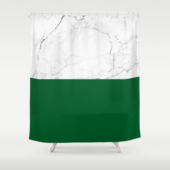 Emerald White Marble Shower Curtain Green Girls Bathroom Shower Curtain White Marble Bathroom Marble White Marble Bathrooms Green Shower Curtains Marble Showers