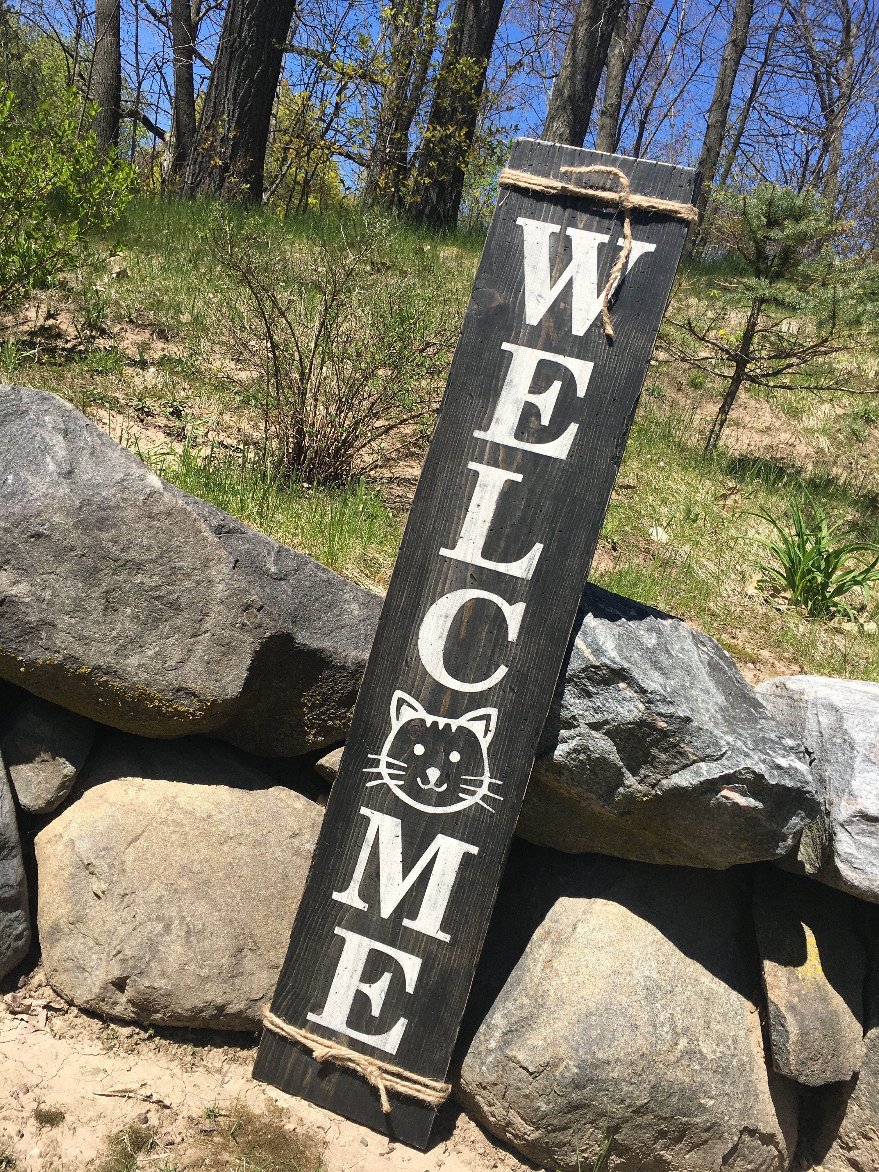 Cat Welcome Tall Distressed Wood Sign Get Your Craft On Wood