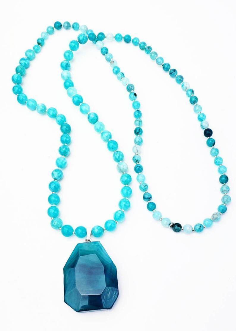 Balance Strength Harmony Mala Necklace| 108 Bead Mala Necklace| Blue Agate Stone Pendant Mala  Balance Strength Harmony Mala Necklace 108 Bead Mala | Etsy  #agate #balance #Bead #Blue #harmony #Mala #necklace #pendant #Stone #Strength