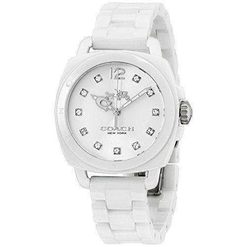 Coach Women S Boyfriend Ceramic 34mm White Watch Coach White Watch Bracelet Watch Watches