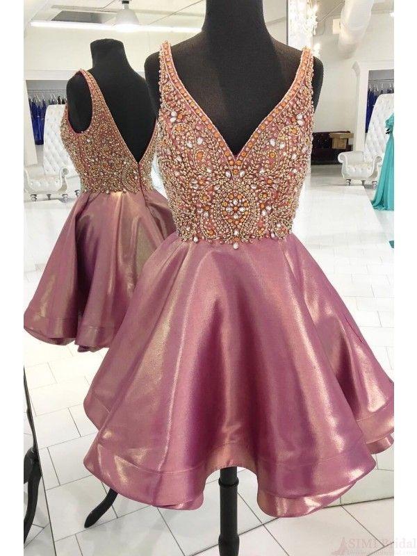 f549db65e43 V-neck Beading Bodice Homecoming Dress Party Dresses(ED2044 ...