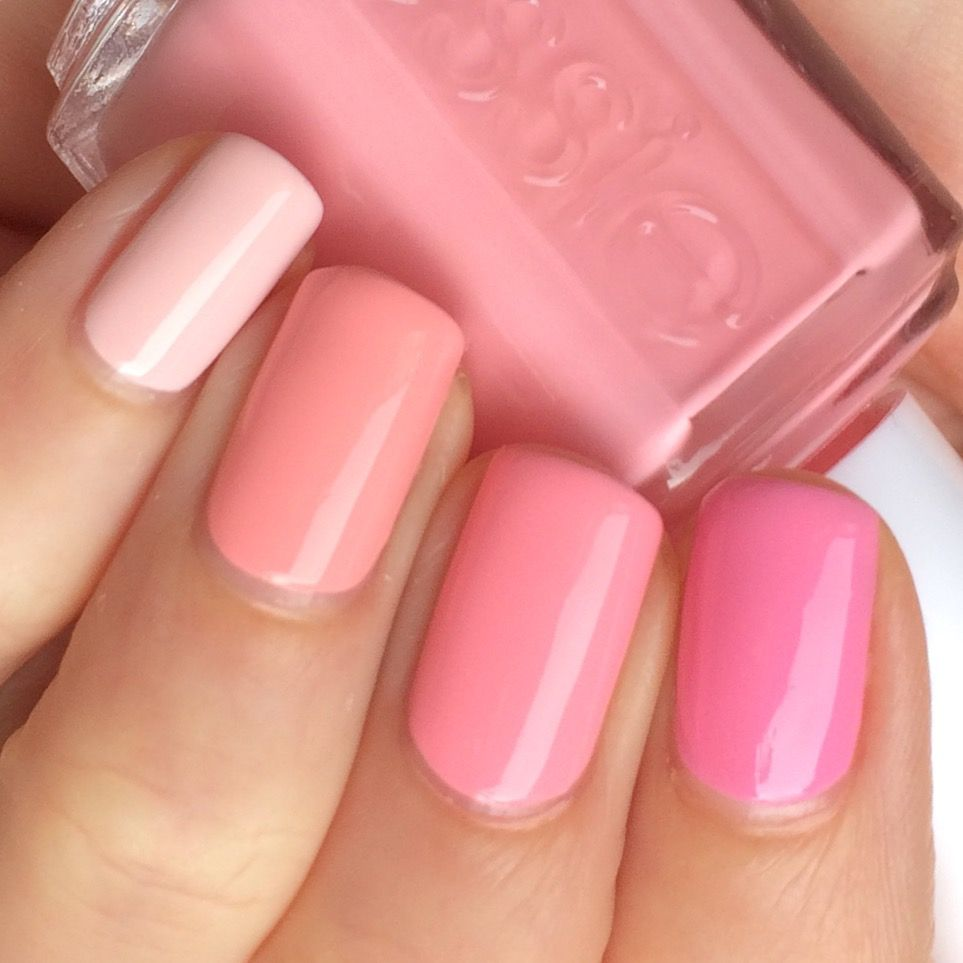 Ombre pink by @lovefreshpaint. Colors used (from pinky to pointer ...