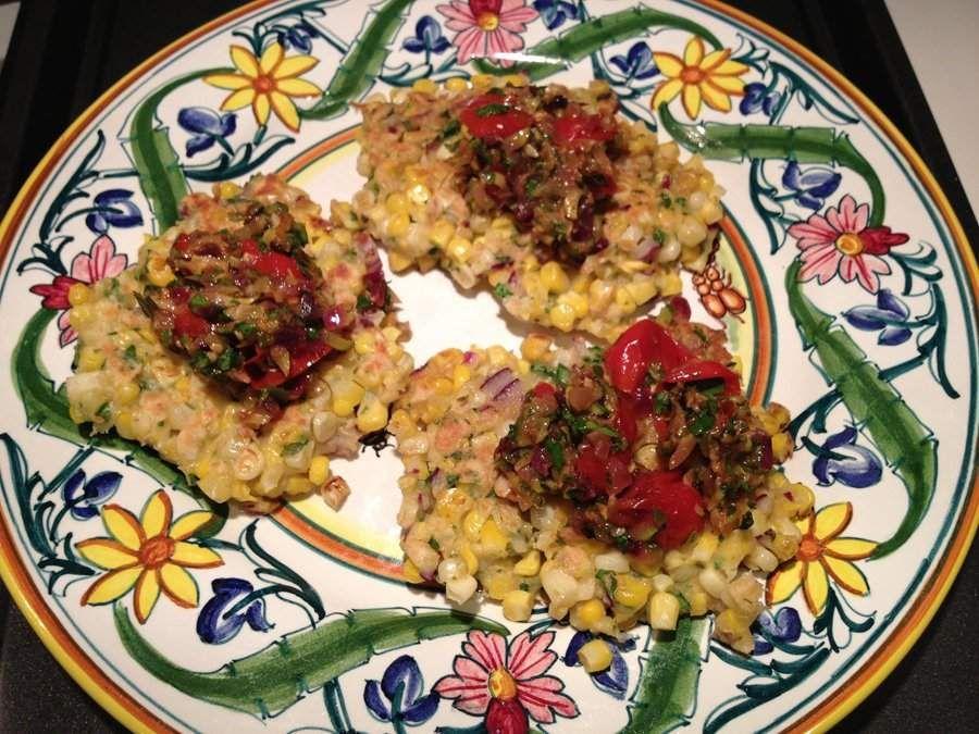 Corn Fritters with Zucchini Tomato Salsa Zucchini tomato